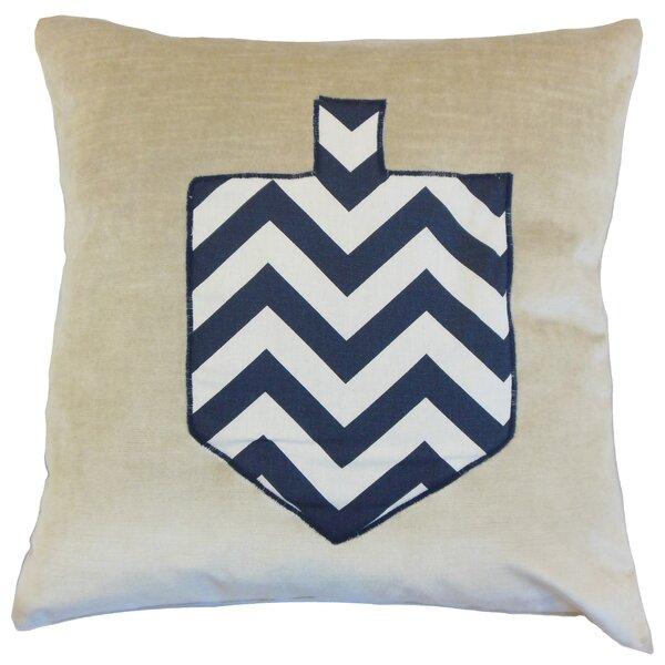 Hanukah Chevron Dreidel Velvet Throw Pillow by The Pillow Collection