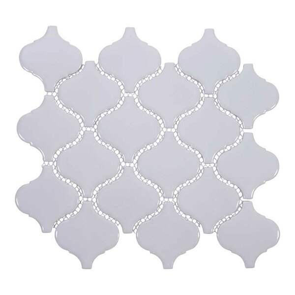 Arabesque 3 x 3 Porcelain Mosaic Tile in Light Gra