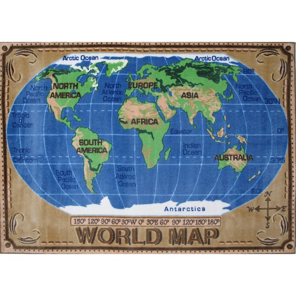 Supreme World Map Kids Rug by Fun Rugs