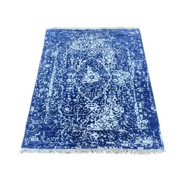 One-of-a-Kind Douglass Circle Broken Persian Oriental Hand-Knotted Silk Blue Area Rug by World Menagerie