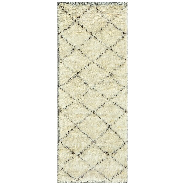 Moroccan Hand-Knotted Ivory Area Rug by Pasargad