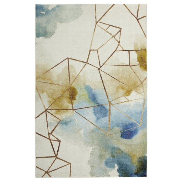 Hallberg Illusion Gold/Blue Area Rug by Ivy Bronx