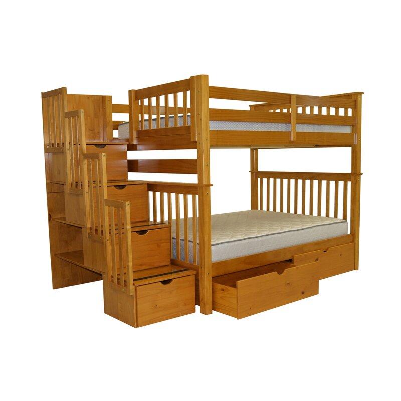 Harriet Bee Tena Full Over Full Bunk Bed With Extra Storage Wayfair