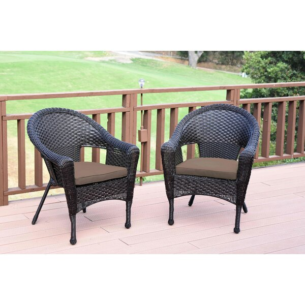 Watts Wicker Single Patio Dining Chair with Cushion (Set of 2) by Bay Isle Home