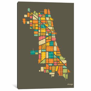 'Abstract Chicago Neighborhood Map' Graphic Art Print on Canvas by East Urban Home