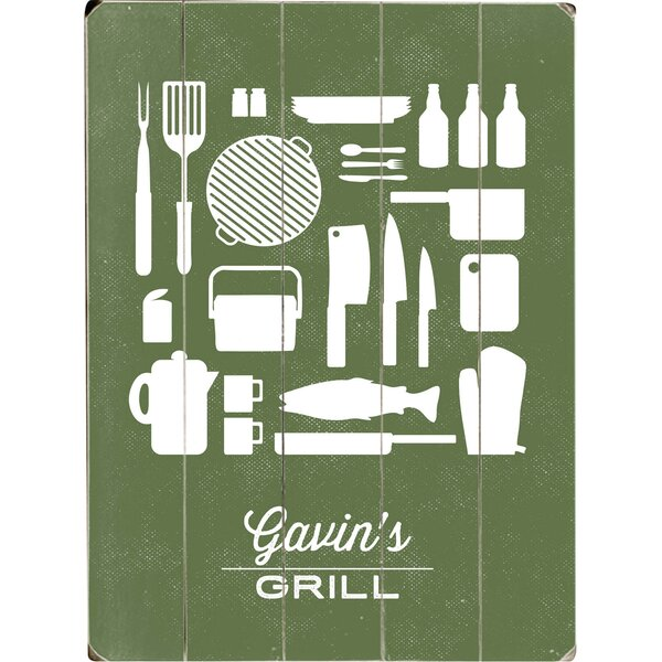 Personalized Grill Graphic Art Print Multi-Piece Image on Wood by Artehouse LLC