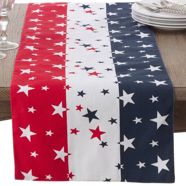 American Flag Cotton Table Runner by Saro