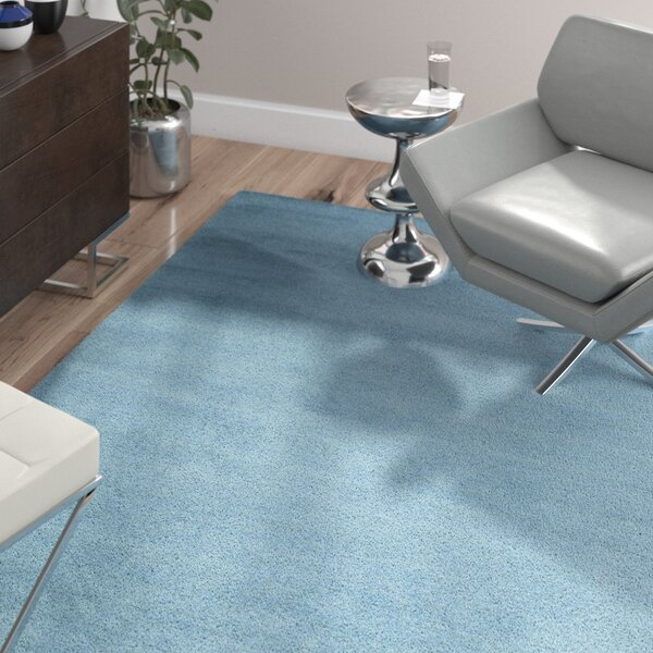 Bargo Hand-Woven Wool Blue Area Rug by Wade Logan