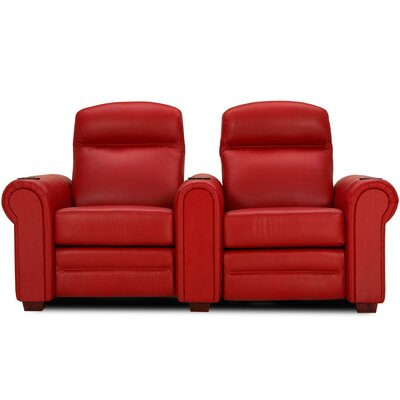 Leather Home Theater Loveseat (Row of 2) Upholstery: Cobblestone