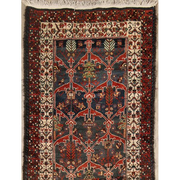 Star Karabagh Kazak Russian Traditional Oriental Hand-Knotted Wool Red/Black Area Rug by Bloomsbury Market