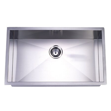 32 L x 19 W Undermount Offset Single Bowl Kitchen Sink by Elements of Design