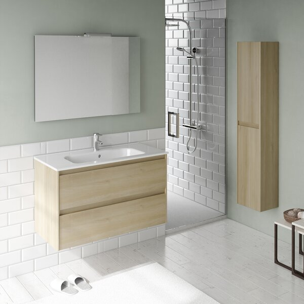Ambra 32 Single Bathroom Vanity Set with Column and Mirror