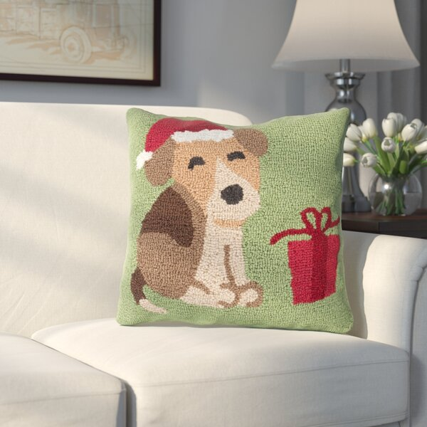 Christmas Hound And Present Throw Pillow by Three Posts