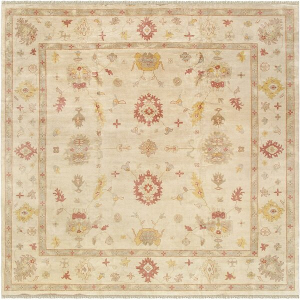 Oushak Hand-Knotted Wool Ivory Area Rug by Pasargad