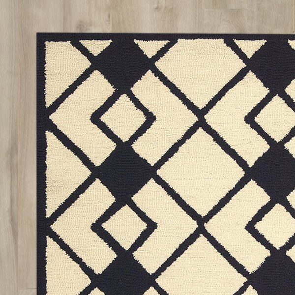 LaGuardia Hand-Tufted Ivory/Navy Area Rug by Wrought Studio