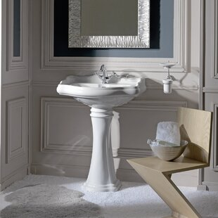 Shopping for Retro Ceramic 22 Pedestal Bathroom Sink with Overflow By WS Bath Collections