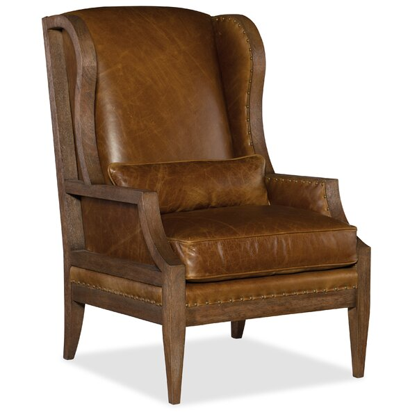 Laurel Exposed Wood Wingback Chair by Hooker Furniture