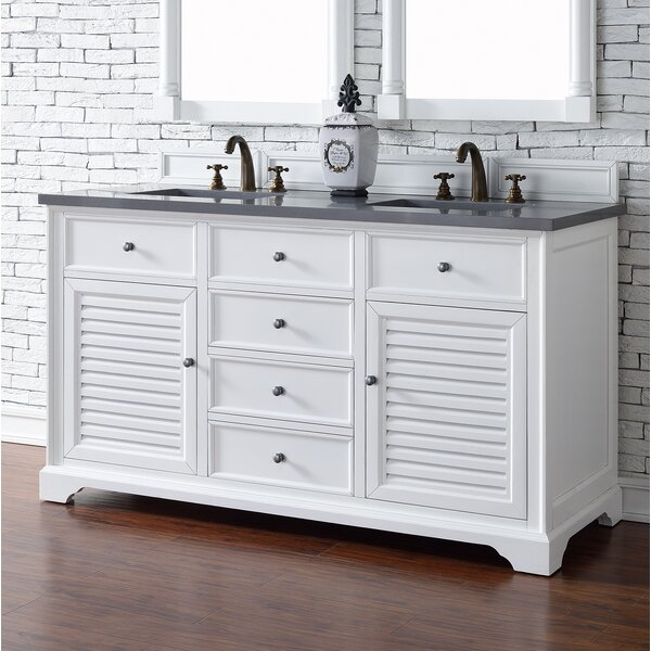 Osmond 60 Double Ceramic Sink Cottage White Bathroom Vanity Set by Greyleigh
