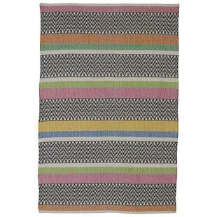 Best Reviews Zen Maya Hand Woven Cotton Black/Pink/Green Area Rug ByFab Habitat
