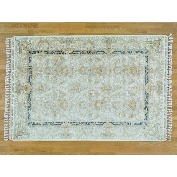 One-of-a-Kind Bemadette Esfahan Hand-Knotted Ivory Silk Area Rug by Isabelline