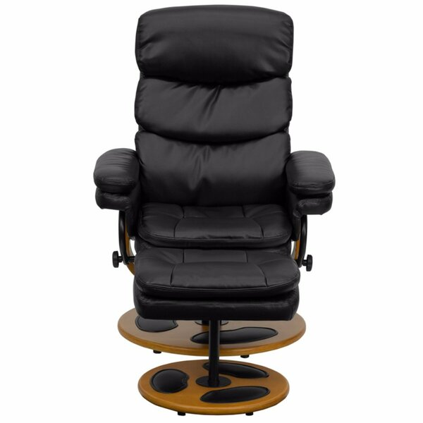 Swedesboro Leather Manual Swivel Recliner With Ott