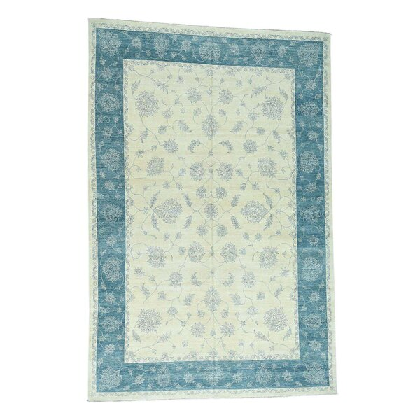 One-of-a-Kind Pettiford Agra Oriental Hand-Knotted Ivory Area Rug by World Menagerie