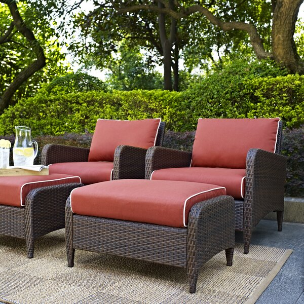 Mosca Traditional 4 Piece Seating Group with Cushions by World Menagerie