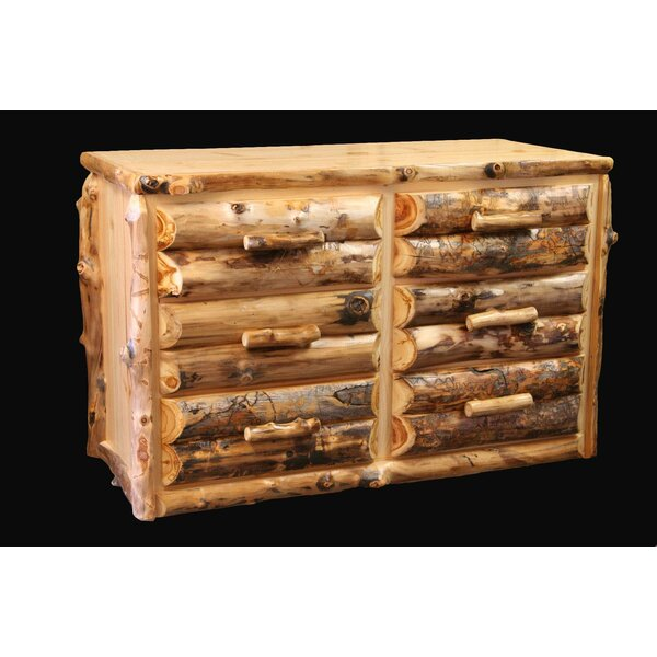 Amias Half Log Front 6 Drawer Double Dresser by Millwood Pines