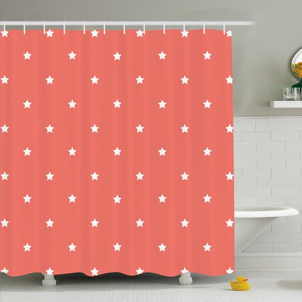 Minimalist Neat Star on Empty Outer Space Elements Greeting Design Image Shower Curtain Set by Ambesonne