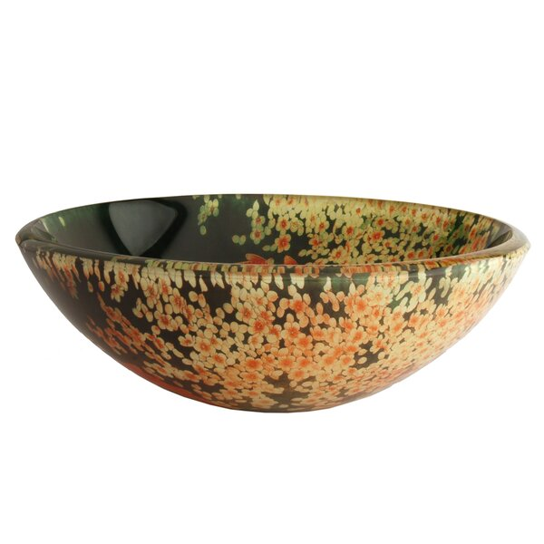 Koi and Lily Pond Glass Circular Vessel Bathroom Sink by Fontaine by Italia