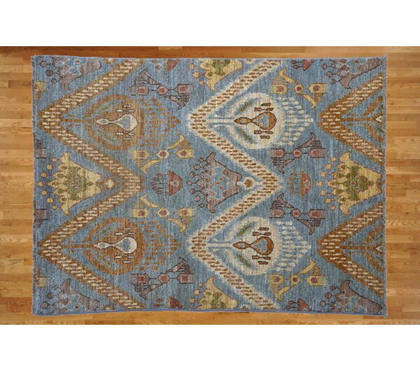 One-of-a-Kind Pellegrino Ikat Hand-Knotted Wool Light Blue Area Rug by Bloomsbury Market
