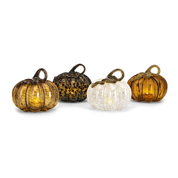 Patchell Glass LED Pumpkin 4 Piece Sculpture Set by August Grove