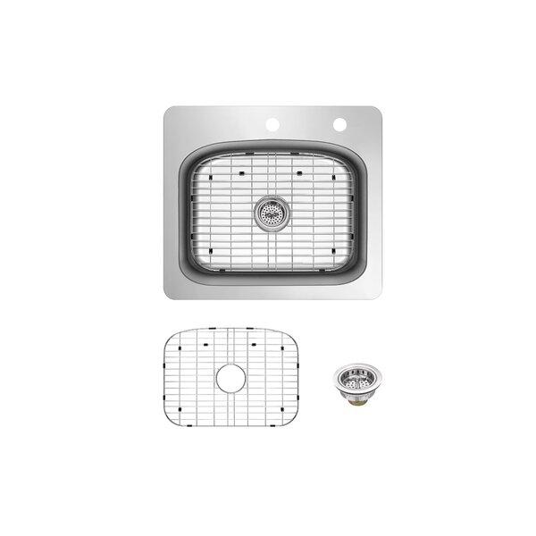 Stainless Steel 25 L x 22 W Drop-in Kitchen Sink with Basket Strainer
