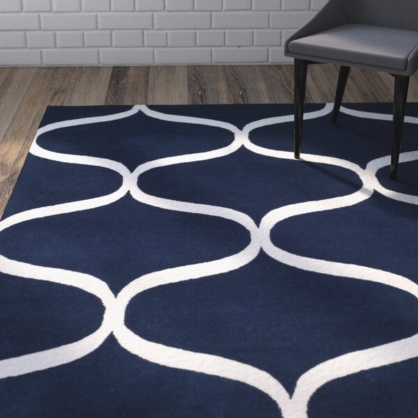 Martins Hand-Tufted Dark Blue/Ivory Area Rug by Wrought Studio