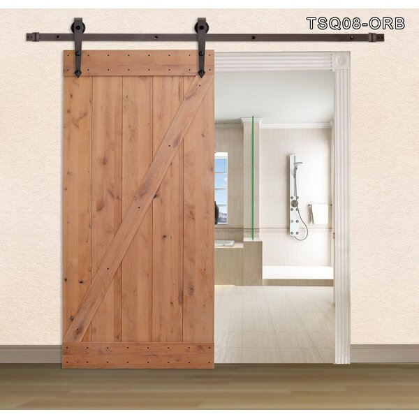 Z Bar Primed Sliding Solid Wood Panelled Slab Interior Barn Door by Calhome