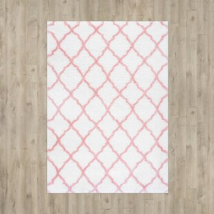 Remerton Bright White/Baby Pink Indoor Area Rug by Three Posts