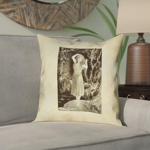 Aridas Vintage Forest Girl Throw Pillow