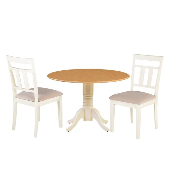 Adriano 3 Piece Drop Leaf Solid Wood Dining Set by August Grove August Grove