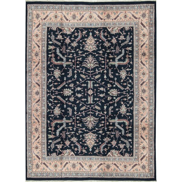 One-of-a-Kind Jaipur Hand-Knotted Wool Navy Blue Indoor Area Rug by Bokara Rug Co., Inc.