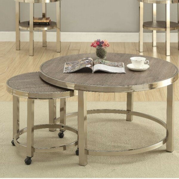 Underhill Contemporary Metal And Wooden 2 Piece Coffee Table Set By Orren Ellis