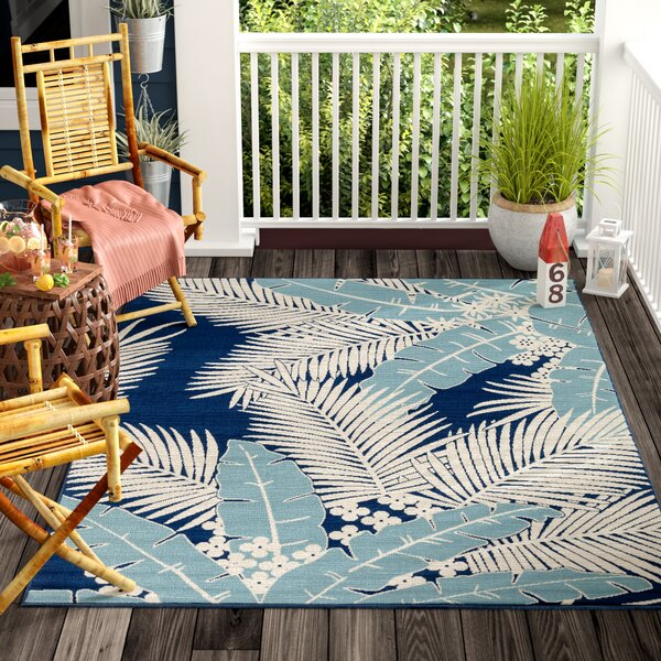 Bethel Blue/Ivory Indoor/Outdoor Area Rug by Bay Isle Home