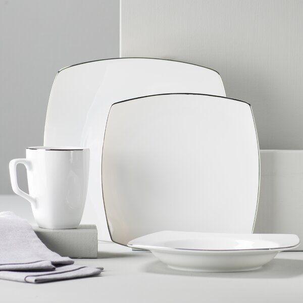 Lotus Silver Line 16 Piece Dinnerware Set, Service for 4 by Ten Strawberry Street
