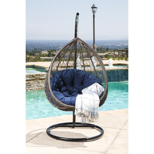 Ostrowski Outdoor Wicker Swing Chair with Stand by Bungalow Rose