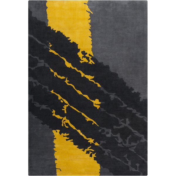 Blair Hand Tufted Wool Gray/Yellow Area Rug by Zoomie Kids