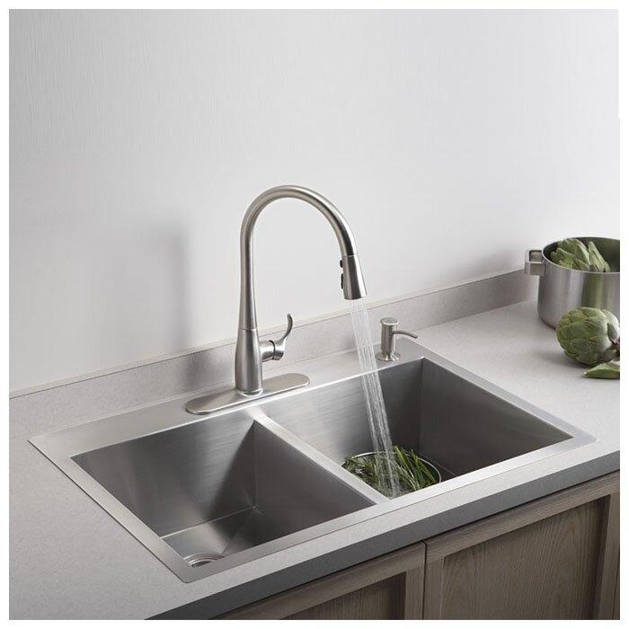 "Top Mount Sink Kitchen: Kohler Vault 33"" X 22"" X 9-5/16"" Top-Mount/Under-Mount"