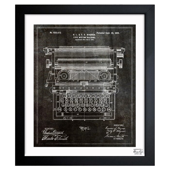 Type Writing Machine 1899 Framed Graphic Art Amp Reviews