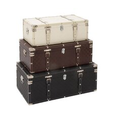 3 Piece Wood/Leather Trunk Set by Cole & Grey