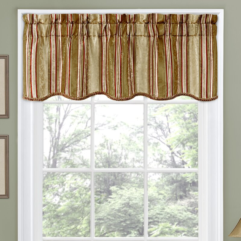 "traditionswaverly stripe ensemble scalloped 52"" curtain"