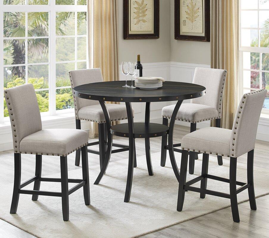 roundhill furniture biony espresso wood 5 piece dining set