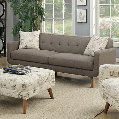 Mid Century Modern Sofa Pillows : Latitude Run Mid Century Modern Sofa with accent pillows & Reviews Wayfair